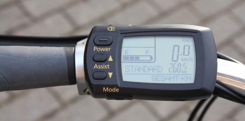 LED Display von einer Bedieneinheit für ein Pedelec mit Nabenmotor