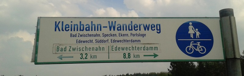 Radwegschild Bad Zwischenahn Edewecht im Ammerland