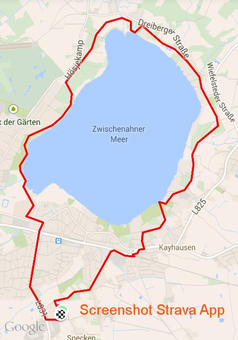 Fahrradweg um das Bad Zwischenahner Meer eingezeichnet