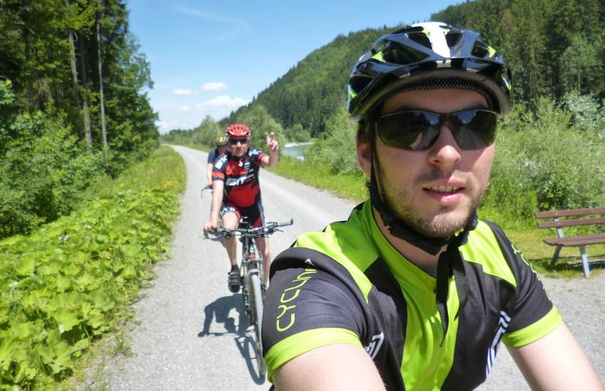 Selfie mit Soeren und Georg auf dem Weg nach Oberstdorf