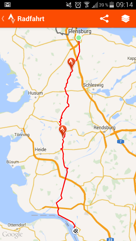 Screenshot App Strava - Tag 1 Etappe 1