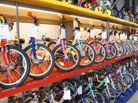Kinderfahrrad Test - Viele verschiedene Kinderfahrräder im Hochregal im Fahrradladen
