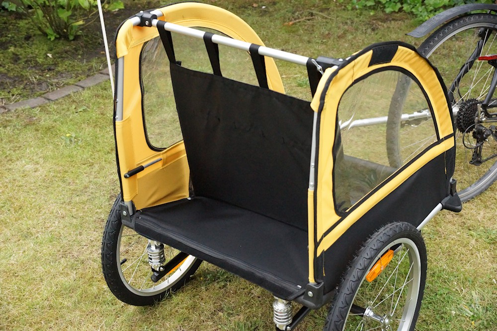 Bicycle trailers without coating. mounted crossbar and seat