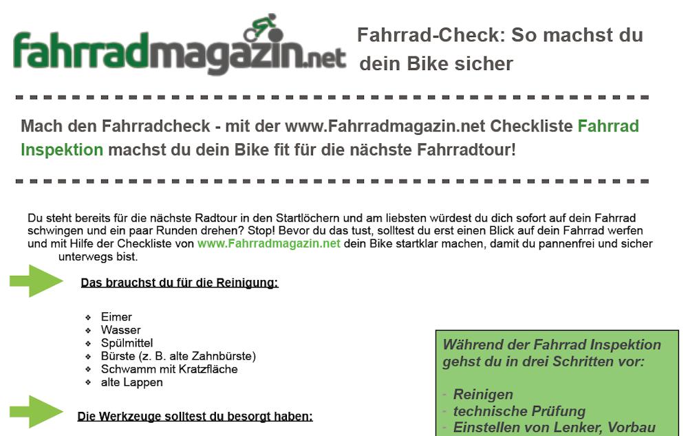 Fahrrad Checkliste Inspektion