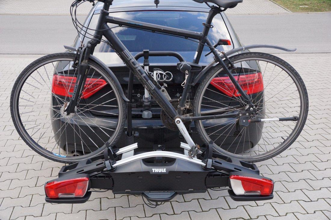 thule velocompact mit fahrrad beladen