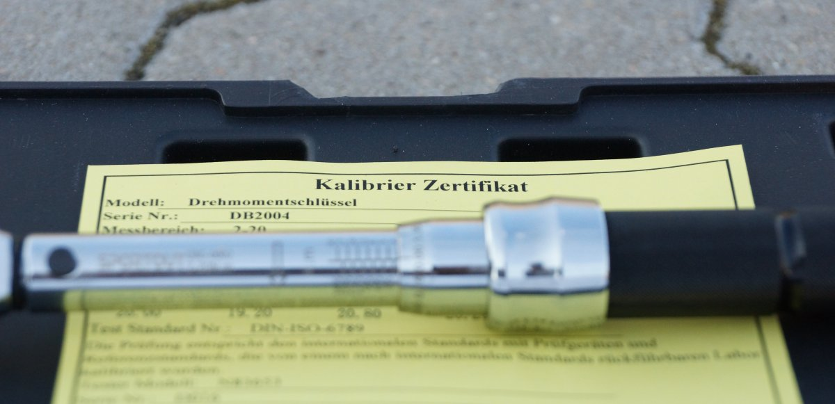 Drehmomentschlüssel Zertifikat