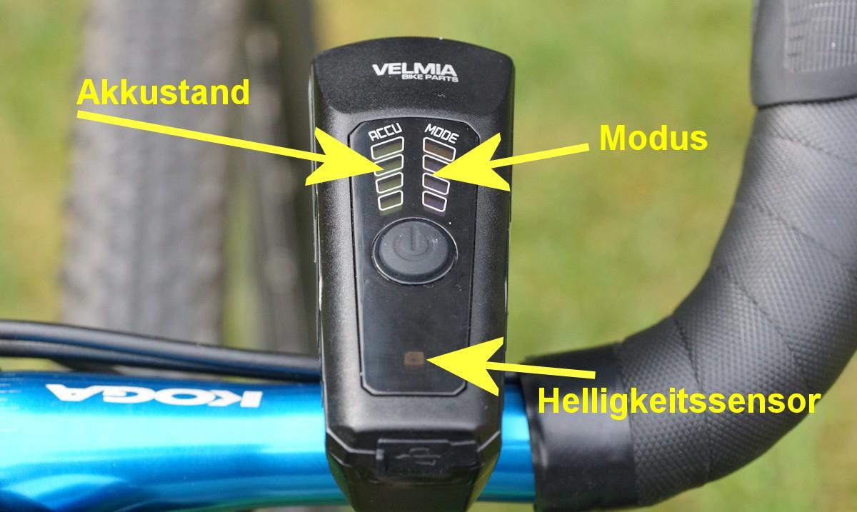 Velmia Fahrradlampe Anleitung und Erklärung der LEDs
