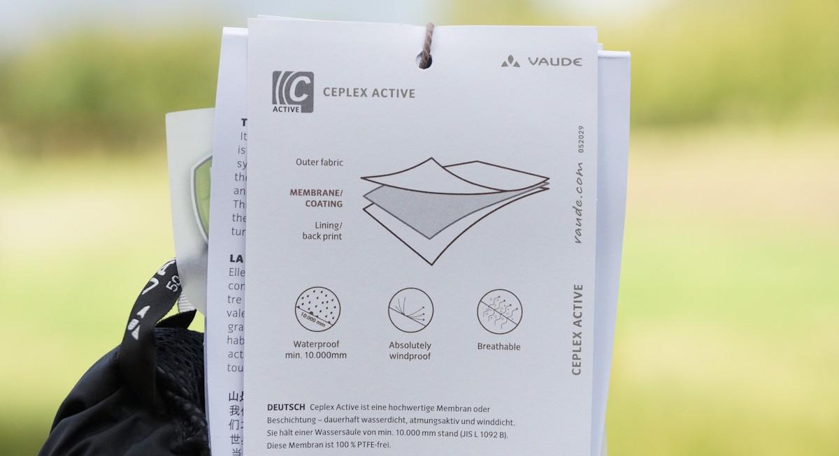 Hinweis Wassersäule und Material Vaude Regenhose