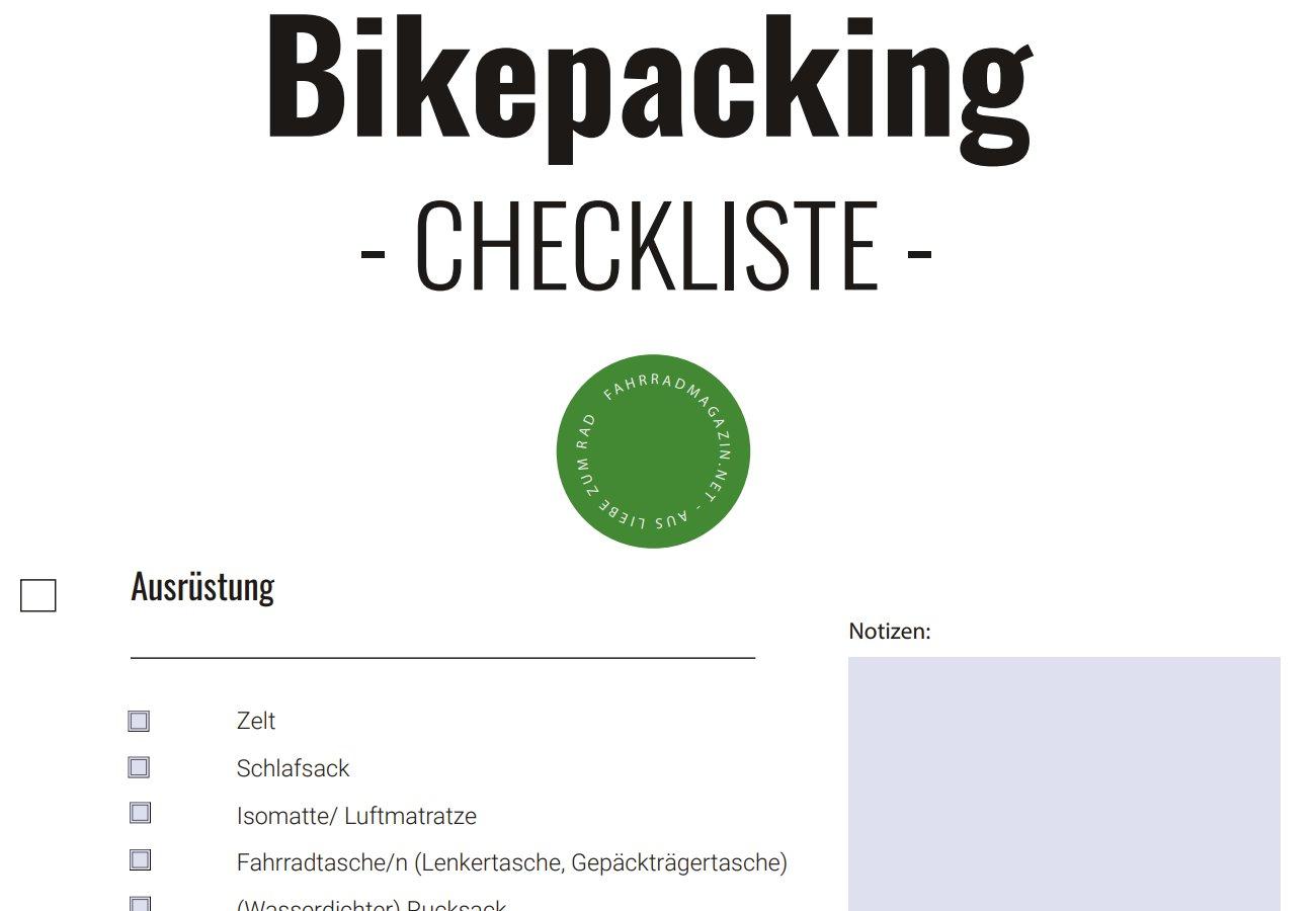 Bikepacking Checkliste